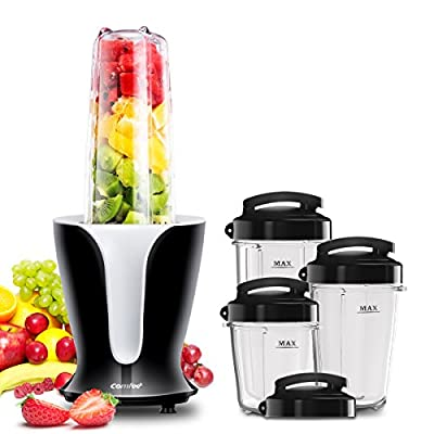 Comfee Multi Function Portable Smoothie Blender with 32Oz/ 24Oz / 18Oz / 12Oz BPA-Free Tritan Single Cups and Travel Lids