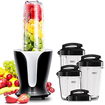 'Comfee 900W High Speed Professional Blender with 4 Sizes BPA Free Tritan Portable Sport Blender Bottles(32oz/24oz/18oz/12oz) and 4 Travel Lids. Personal Blender for Smoothies, Shakes, and Baby Food' from the web at 'https://images-na.ssl-images-amazon.com/images/I/51yacbk9aKL._SL500_AC_SS350_.jpg'