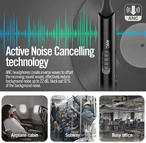 Active Noise Cancelling Earphones, AKAMATE V4.2 Bluetooth Neckband Headset Up to 92 22dB ANC Wireless in-Ear Headphones Magnetic Sports Earbuds with Mic, Deep Bass HD Stereo, 8 Hrs Playtime