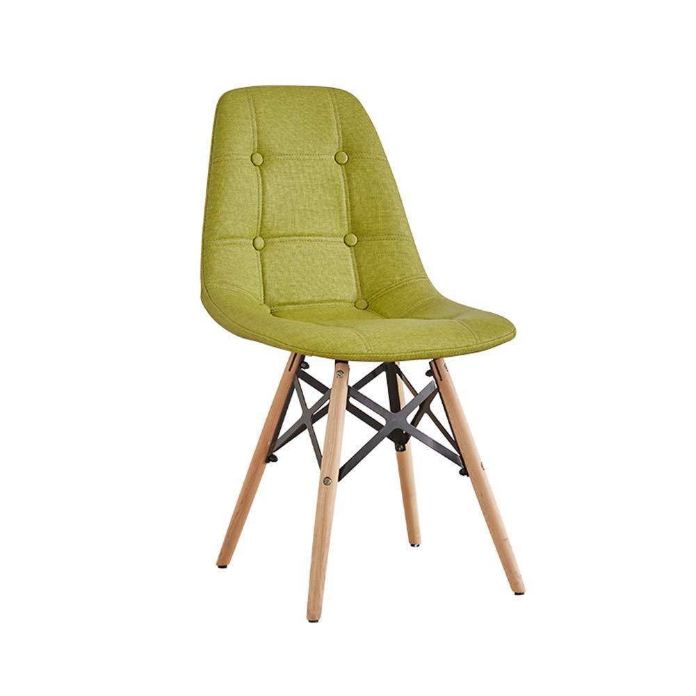 Lil Nordic Massivholz Esszimmerstuhl Schlafzimmer Holz + Tuch Abnehmbare Rückenlehne Gesteppte Button Style Stühle Freizeitstuhl (Farbe   Khaki, größe   82  40  50 cm) Grün 824050 Cm