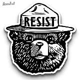 "'RESIST' Smokey the Bear 3"" Macbook / Laptop Decal (Black & White)"