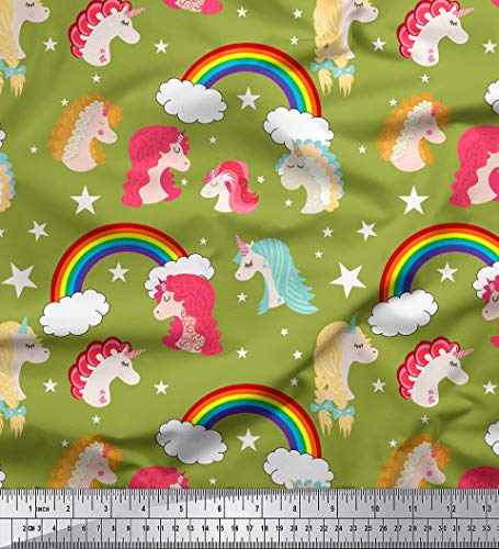 Soimoi Green Cotton Jersey Fabric Rainbow & Unicorn Face Print Fabric by The Yard 58 Inch Wide (Cotton Rainbow Jersey)