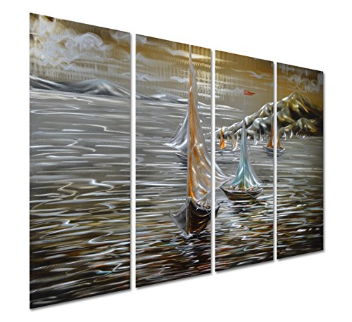 Pure Art Paper Boats in The Ocean - Sea Nautical Metal Wall Art Decoration - Beach Themed Hanging Sculpture - Set of 4 Panels of 47