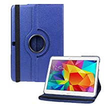 Samsung Galaxy Tab 4 10.1 CASE, Kingsource PU Leather Case for Samsung Galaxy Tab 4 10.1 (SM-T530NU) PU Leather 360 Rotating Stand Cover with Screen Protector Dark Blue
