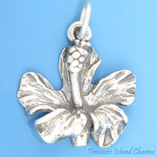 Hawaii Hibiscus Flower 3D .925 Solid Sterling Silver Charm Pendant New Ideal Gifts, Pendant, Charms, DIY Crafting, Gift Set from Heart by Wholesale ()