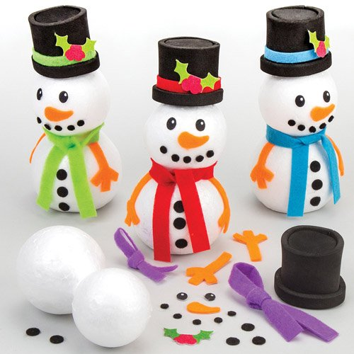 Build a Snowman Kits - Creative Xmas Craft Acitivity for Kids (Pack of 4)