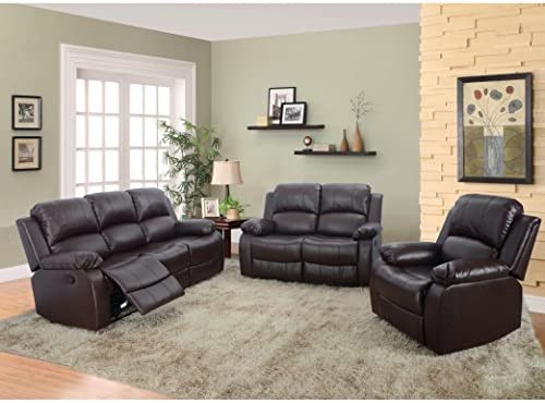 Beverly Furniture 3 Piece Bonded Leather Sofa Loveseat Chair with 5 Recliners Set of 1 , Brown