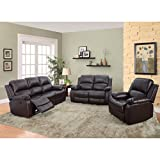 Beverly Furniture 3 Piece Bonded Leather Sofa & Loveseat & Chair with 5 Recliners (Set of 1), Brown For Sale