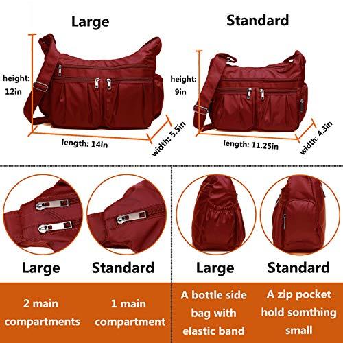 Crossbody Bags for Women, Multi Pocket Shoulder Bag Waterproof Nylon Travel Purses and Handbags (8981_Red) by VOLGANIK ROCK (Image #2)