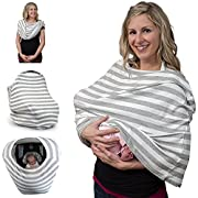 Breastfeeding Cover & Nursing Scarf - Covers Baby Carrier Car Seat, Stroller, Canopy Shopping Cart - Stylish Stretchy Multi-Use Infinity Shawl - With Gift Pouch for Boys and Girls (Grey)