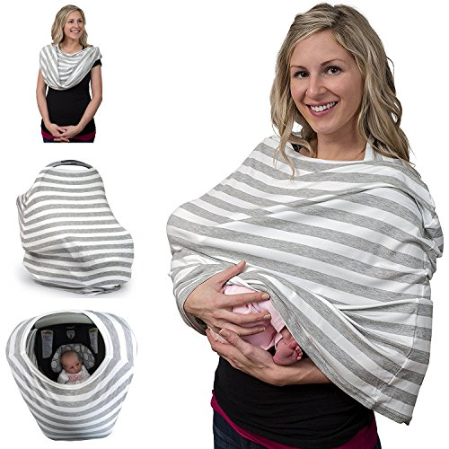 a46217c0d9ef6 Breastfeeding Cover & Nursing Scarf- Stretchy Covers for Baby Carrier, Car  Seat, Stroller, Canopy, and Shopping Cart - Stylish Multi-Use Infinity Shawl  ...