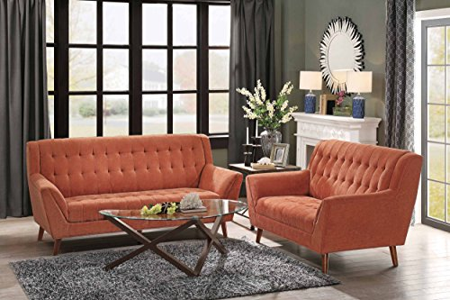 """Homelegance Erath 81"""" Fabric Sofa, Orange - Flared arm sofa (8244RN-3) features vibrant easy to clean polyester cover Tapered natural finish wood legs subtly contrast and balance the vibrant finish cover High quality design features no-sag pocket coil spring construction with high density foam for added comfort - sofas-couches, living-room-furniture, living-room - 51yaeedQuBL -"""