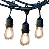 Newhouse Lighting Outdoor Weatherproof Commercial Grade LED String Lights with Hanging Sockets | Weatherproof Technology | LED Filament Light Bulbs Included | Heavy Duty 48-Foot String | Black