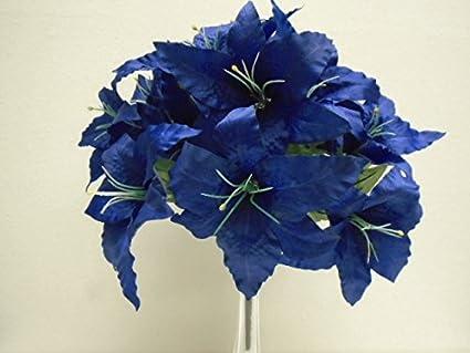 Amazon dark blue jumbo tiger lily 14 silk flowers bush bouquet dark blue jumbo tiger lily 14 silk flowers bush bouquet artificial mightylinksfo