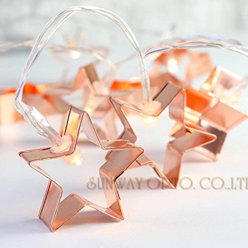Sunmid Metal Star String Lights LED Copper Star Fairy Lights Decoration for Festival Christmas Party Wedding Warm White (Copper Cutter Cookie Leaf)