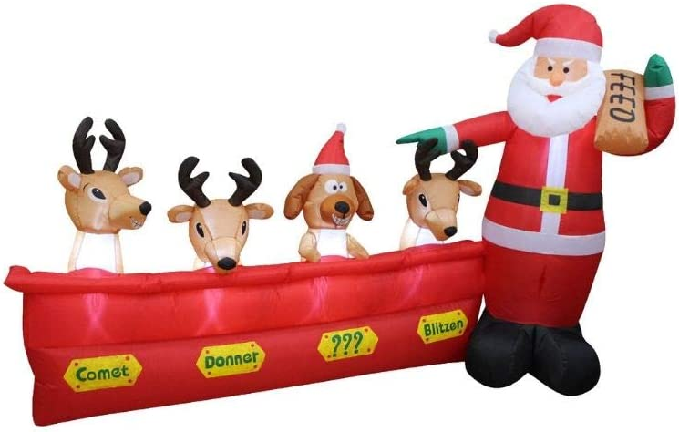 Impact Canopy Christmas Inflatable Decoration, Outdoor Holiday Lighted Santa with Reindeer, 8' Long