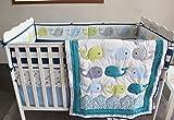 NAUGHTYBOSS Baby Bedding Set Cotton 3D Embroidery Ocean Whale Quilt Bumper Mattress Cover Blanket 8 Pieces Ocean Blue