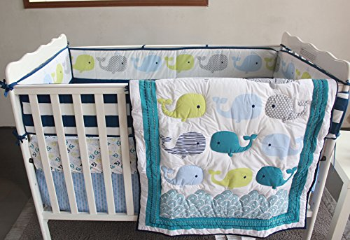 NAUGHTYBOSS Baby Bedding Set Cotton 3D Embroidery Ocean Whale Quilt Bumper Mattress Cover Blanket 8 Pieces Ocean Blue by NAUGHTYBOSS