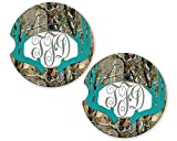 Turquoise Deer Antlers Camo Personalized Monogram Sandstone Car Cup Holder Matching Coaster Set