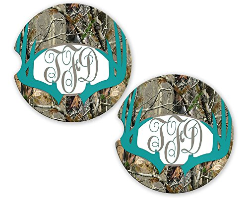 Turquoise Deer Antlers Camo Personalized Monogram Sandstone Car Cup Holder Matching Coaster Set by BrownInnovativeMedia