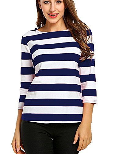 Blue Striped Shirt Costume (Women's Long Sleeve Boat Neck Striped Relax Fit Christmas Tee Shirts Blue S)