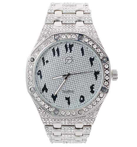 Mens Bling-ed Out 45mm Arabic Dial CZ Watch with Simulated Diamonds - Silver (Diamonds Ap Watch With)