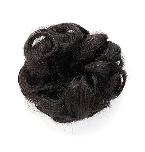 Rosette 100% Human Hair Scrunchie Extensions Curly Messy Donut Hair Chignons (Black)