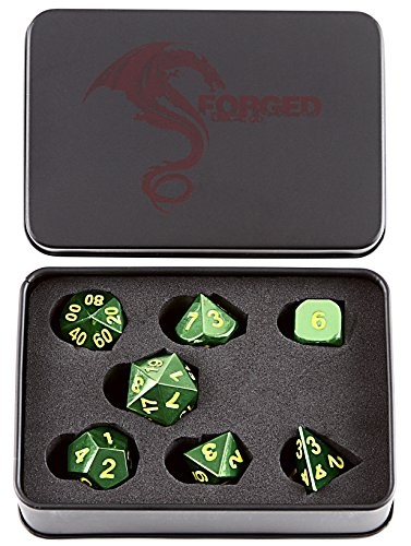 Forged Dice Co. Metal Dice Compatible with RPG games like Dungeons and Dragons, DnD, and Pathfinder (Emerald Green w/ Yellow Numbers Set of 7 Polyhedral w/ Tin, Set of 7 Polyhedral w/ Tin)