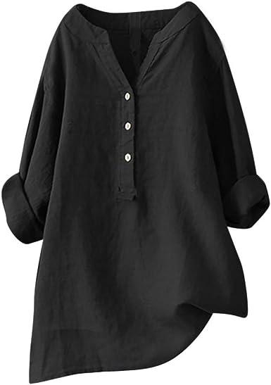 YEBIRAL Mujeres Casual Tallas Grandes Camiseta Camisa Manga Corta Suelto Casual Redondo Cuello Color Sólido Túnica Tops de Verano Blusas: Amazon.es: Ropa y accesorios