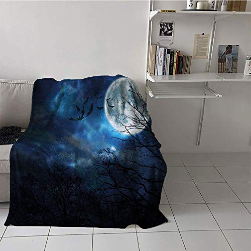 Khaki home Children's Blanket pop Print Summer Quilt Comforter (60 by 62 Inch,Halloween,Bats Flying in Majestic Night Sky Moon Nebula Mystery Leafless Trees Forest,Blue Black White