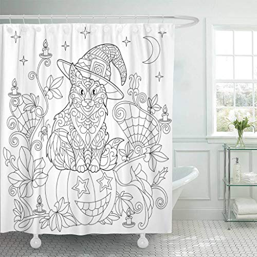 Emvency Fabric Shower Curtain Curtains with Hooks Halloween Coloring Page Cat in Hat Pumpkin Spider Lanterns with Candles Moon and Stars Freehand Sketch 66