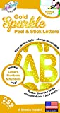 252 PC Peel and Stick Letters & Numbers, 1' and 2' Gold Sparkle, by The Peel People