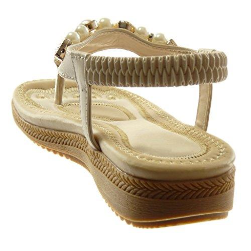 Angkorly Zapatillas Moda Sandalias Chanclas Correa de Tobillo Mujer Perla Joyas Plataforma 2.5 cm Beige