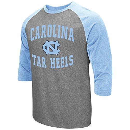 Colosseum Men's NCAA-Raglan-3/4 Sleeve-Heathered-Baseball T-Shirt-North Carolina Tar Heels-Small