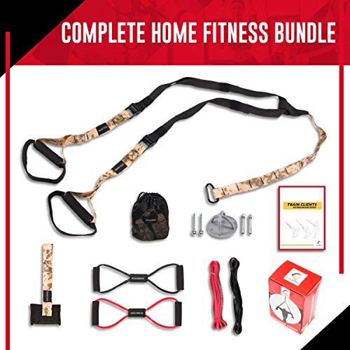Bodyweight Fitness Resistance Training Kit – Home Gym Equipment – Perfect Workout Gear for Travel & Home Workout Equipment – Includes Resistance Training Bands, Yoga Stretch Bands & More (CAMO Color)