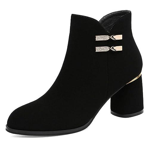 para Mujer Damas Botines De Gamuza Negro Medio Alto Bloque Zapatos De Tacón Punta Estrecha Zip