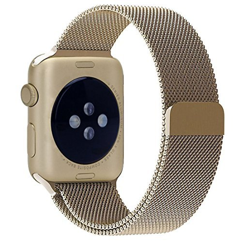 Stainless Steel Band Mesh bracelet strap Replacement Band with Magnetic Closure Clasp for Apple Watch Series 1 Series 2 Series 3 Edition 38mm Light Gold