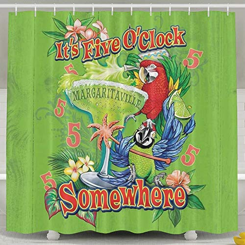 Pillow Hats It's Five O'clock Somewhere Parrot Waterproof, Shower Curtain For Bathroom Showers And Bathtubs, 60