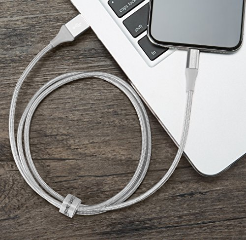 AmazonBasics Double Braided Nylon USB A to Lightning Compatible Cable, Advanced Collection - Apple Mfi Certified Silver 3-Foot (0.9 Meters) by AmazonBasics (Image #3)