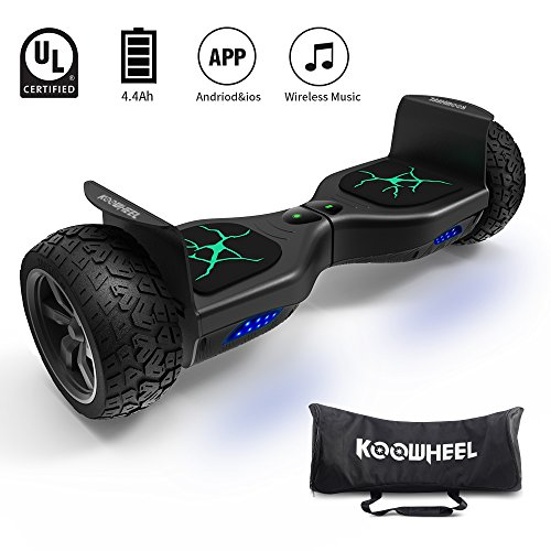 KOOWHEEL Off Road Hoverboard All Terrain 8.5″ Alloy Wheel, App-enabled Self Balancing Scooter UL2272 Certified Hover Board(12Km/h 250lbs Max) With 350W Dual Motor, Bluetooth, Samsung Battery&Carry Bag