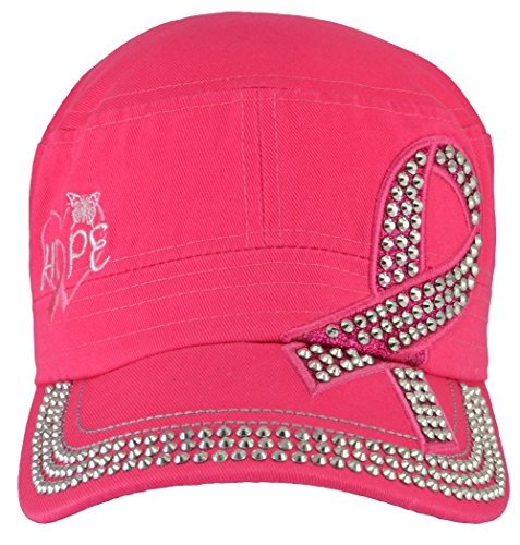 Breast Cancer Awareness Hat Rhinestones Hope Hot Pink (Hope Rhinestone)