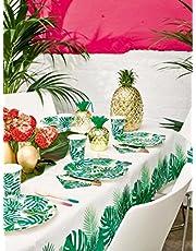 Talking Tables Tafelkleed van groen tropisch palmblad .Papieren rechthoekig tafelkleed, Wegwerpservies voor Hawaiiaans verjaardagsfeestje, tropisch thema, Fiesta, Jungle, Luau, verjaardag