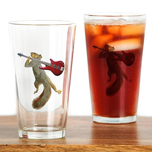 CafePress Squirrel Red Guitar Pint Glass, 16 oz. Drinking Glass