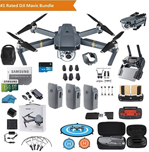 DJI Mavic Pro Drone Quadcopter Fly More Combo with 3 Batteries, 4K Professional Camera Gimbal Bundle Kit with DJI Bag, 64GB SD Card, Range Extender,Landing Pad, Must Have - Maverick Pro