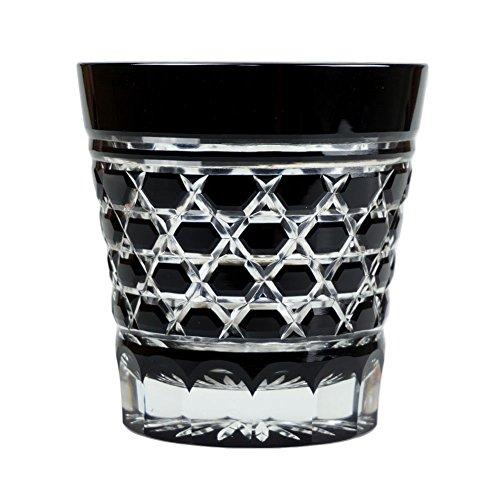 Double Old Fashioned Rocks Glass 11.4 Oz Edo Kiriko Cut Glass Black - Rokkaku-Kagome Hexagon Pattern [Japanese Crafts Sakura] by Japanese Crafts Sakura