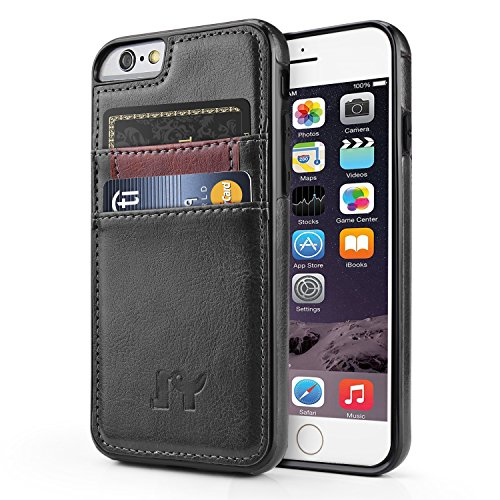Iphone Executive Case - iPhone 6 6s (4.7 inch) Case, JY Smart PU Leather Slim Fit Snap On Executive Wallet Card Case for iPhone 6 6s (Black)