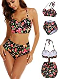Pintimi Women Floral Print Two Piece Swimsuit High Waisted Bikini Push up Bathing Suits S-XXL