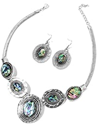 Abalone Shell Silvertone Hammered Dangle Earrings and Necklace Jewelry Jewelry Set for Women 18-20""
