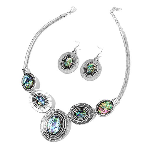 Abalone Shell Silvertone Hammered Dangle Earrings and Necklace Jewelry Jewelry Set For Women 18-20