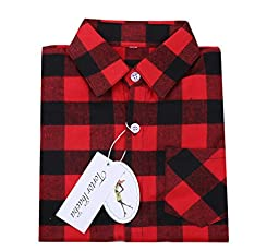Little Boys\' Long Sleeve Button Down Plaid Flannel Shirt Red Black 3